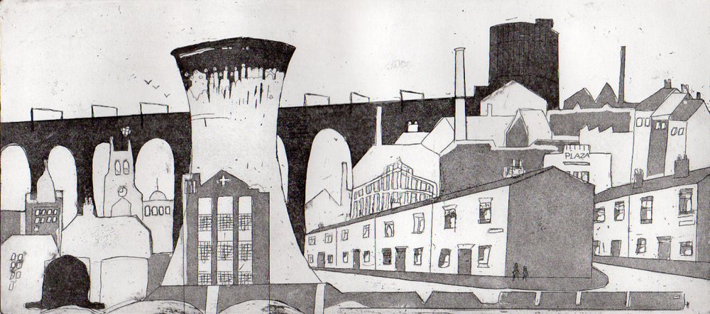 'Portwood Cooling Tower' etching Aquatint