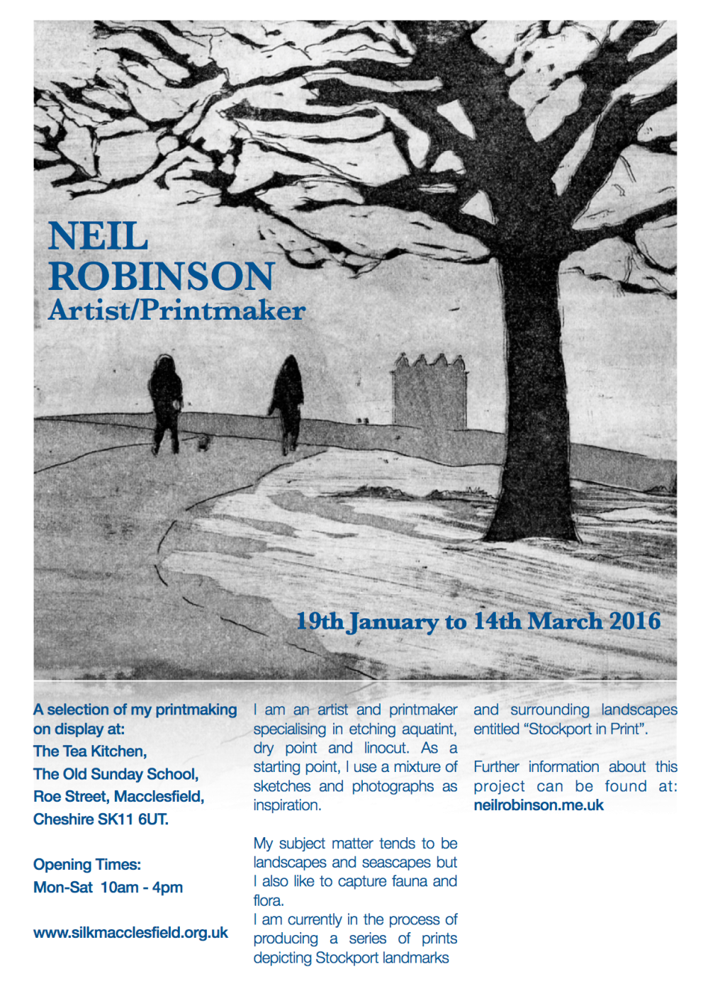 I have a mini exhibition of my printmaking on display at The Tea Kitchen, The Old Sunday School, Roe Street, Macclesfield from Tuesday 19th January to Monday 14th March 2016.