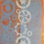 Gelli print with stencil.