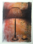 Table lamp and candle. Gelli print with matte medium transfer.