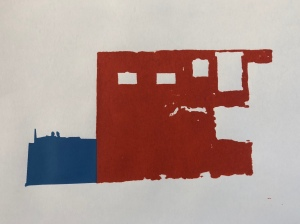 Screen-print showing a block of brick red and ultramarine blue. (WIP)