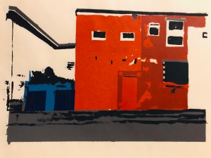 "Screen-print ""Blue fence, red door"" by Neil Robinson"