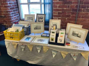 My stall at the Manchester Print Fair, Hatworks,Stockport on 2nd February.