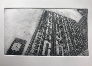 """The precinct clock"" (Etching Aquatint)"