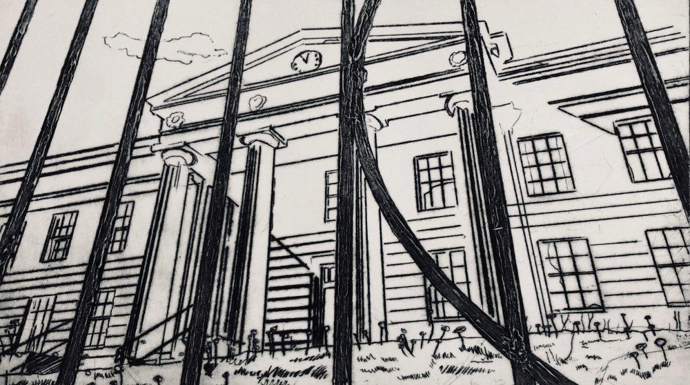 The old infirmary building drypoint
