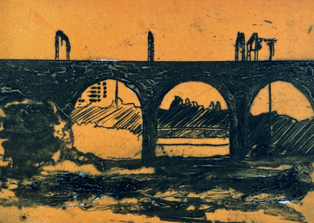 Viaduct silhouette drypoint with rollover of orange